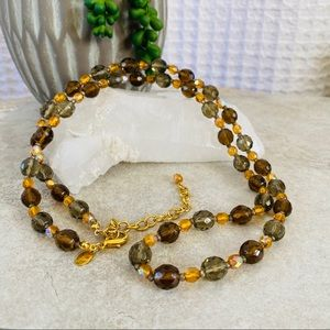 Joan Rivers Long Smoky Glass Bead Necklace